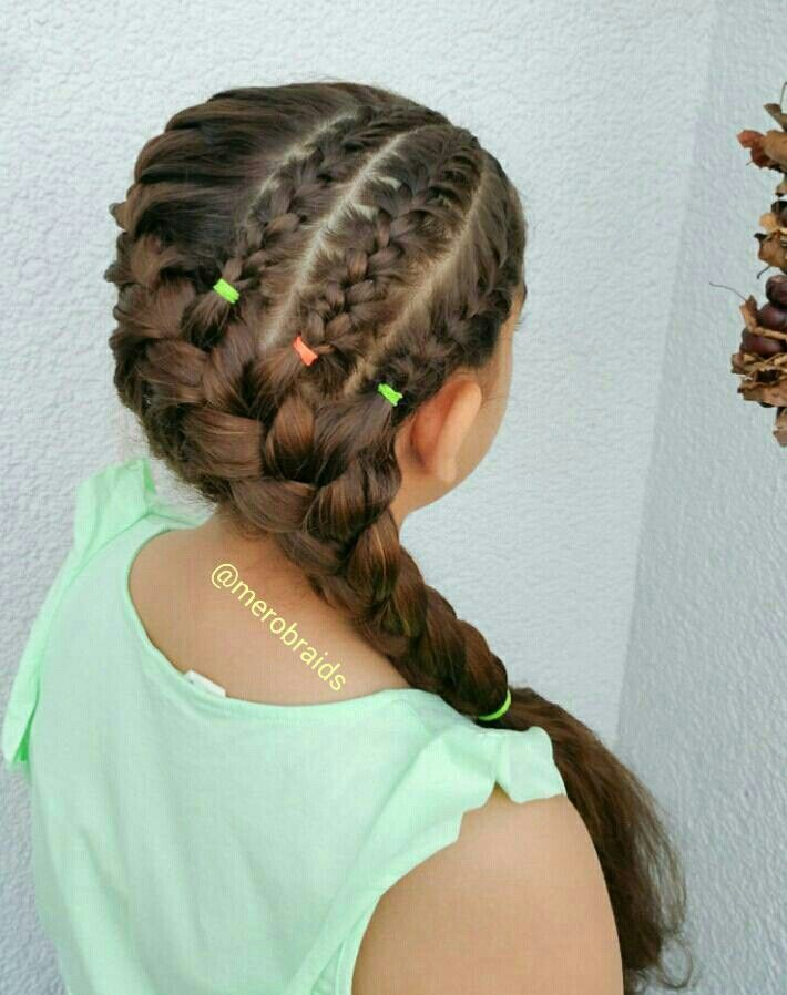 Cornrows into a diagonal french braid