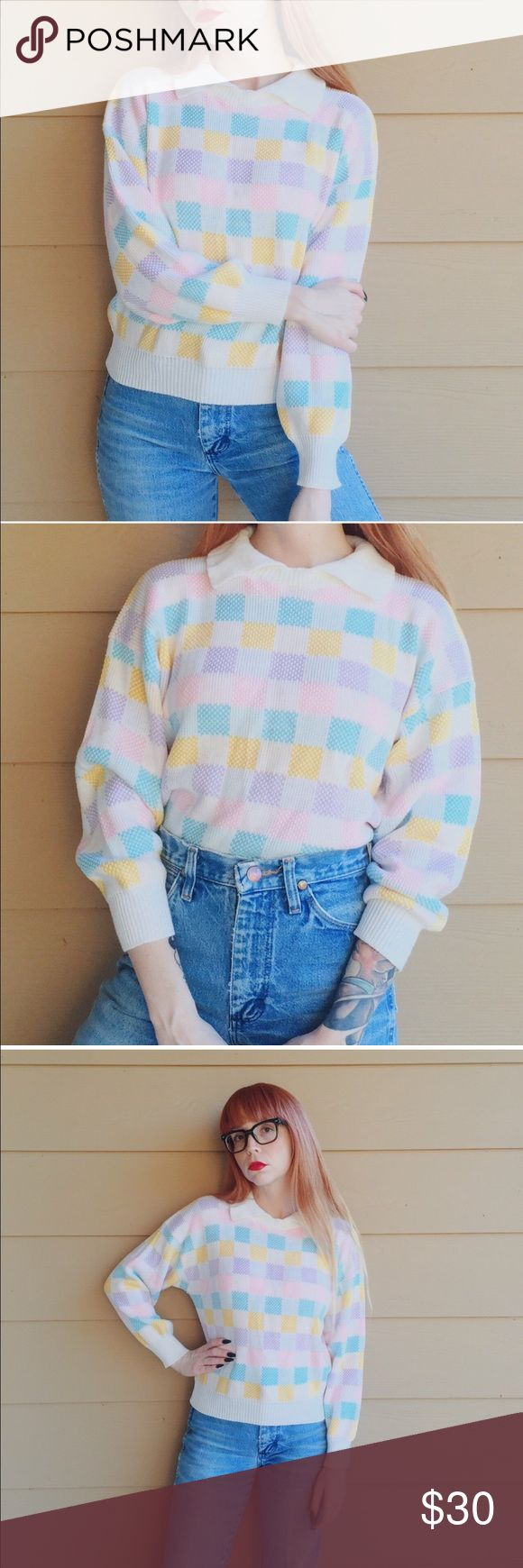 Vintage pastel plaid oversized knit sweater top I absolutely adore this pastel checkered retro vintage knit sweater top with the cutest little Oxford collar! Excellent condition for its age and so comfy! Reminds me of UNIF meets kawaii Vintage Sweaters Crew & Scoop Necks