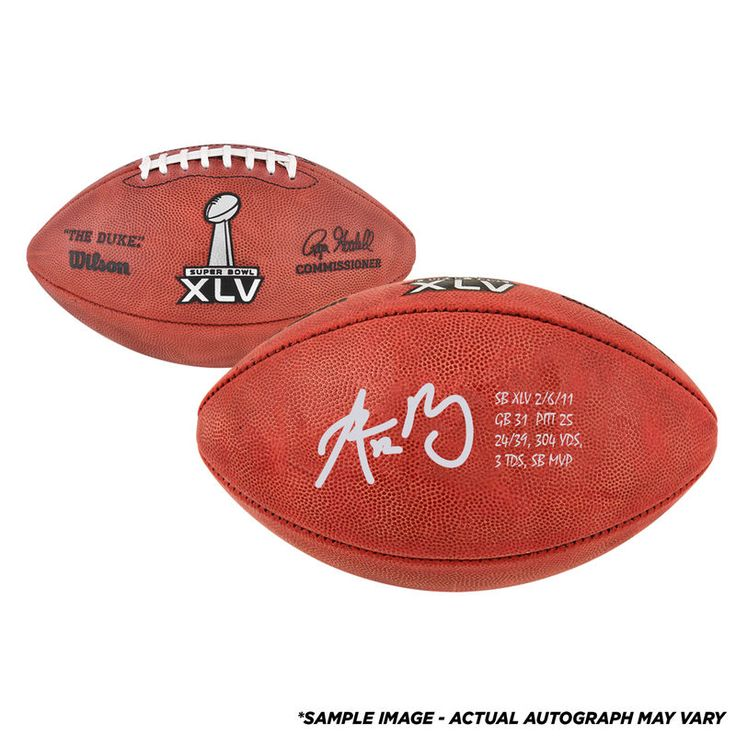 """Aaron Rodgers Green Bay Packers Fanatics Authentic Autographed Super Bowl XLV Pro Football with """"Super Bowl Stats"""" Inscription-Limited Edition of 24"""