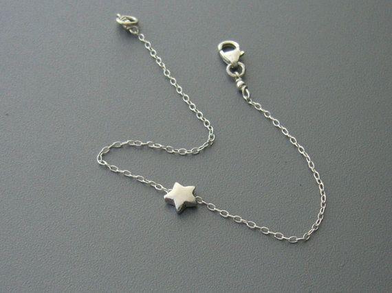 Sterling Silver Star Bracelet/Simple Silver by CaratStudio on Etsy