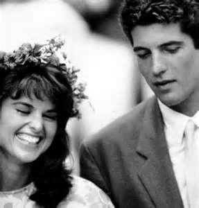 Maria Shriver and JFK Jr at Caroline's wedding