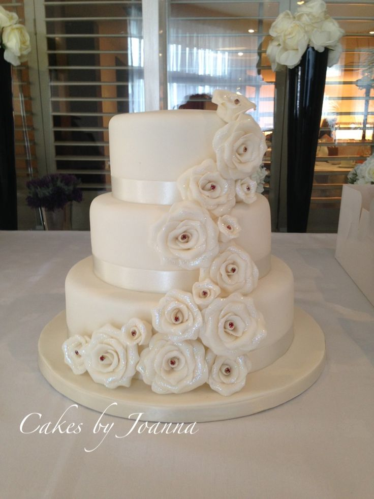3 tier wedding cake with cascading roses 56 best images about wedding cakes on white 10341