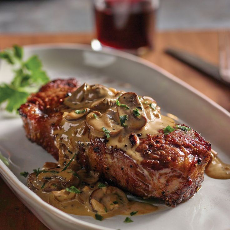 Steak Au Poivre with Sherry Mushroom Cream Sauce by H-E-B