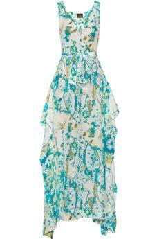 Vivienne Westwood Anglomania Zeta asymmetric printed crepe de chine maxi dress | NET-A-PORTER