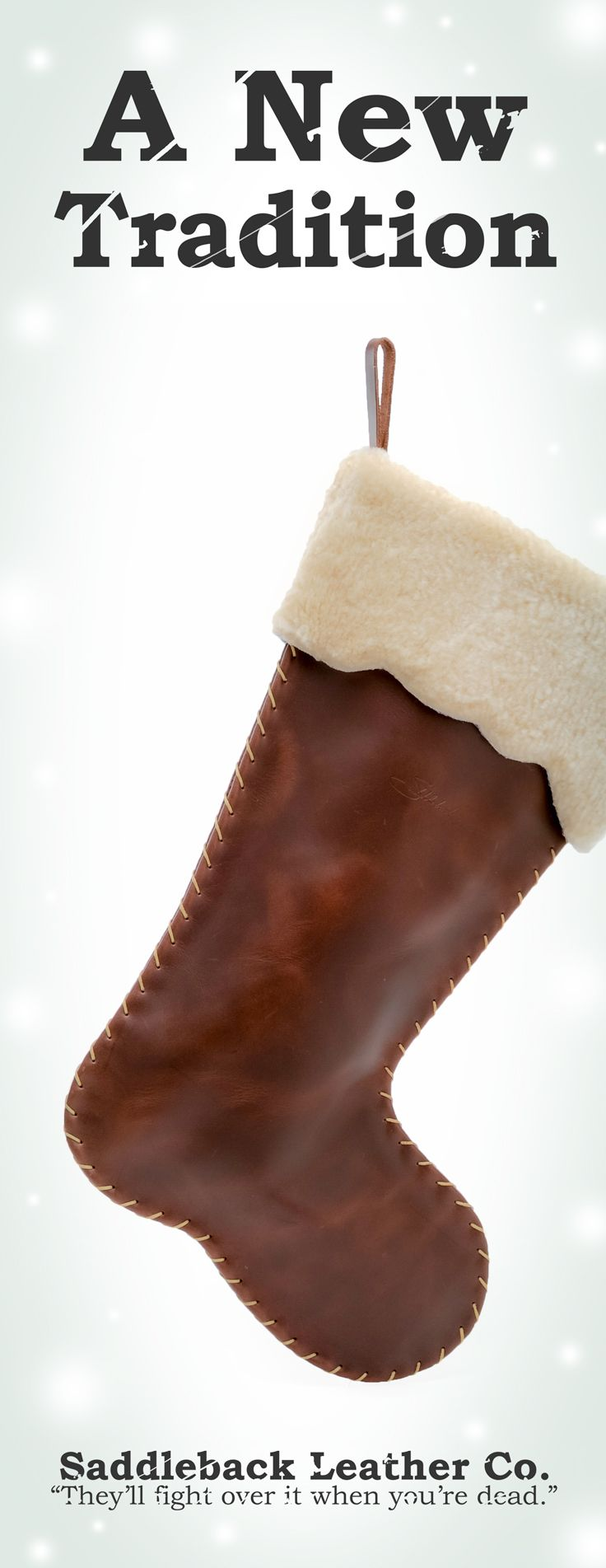 The Saddleback Leather Christmas Stocking in Chestnut | 100 Year Warranty | $68.00