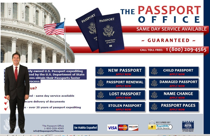 Passport expediting service for new passports, renewal, lost or stolen passports for adults and children.