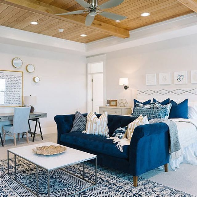 Master Bedroom in the American Fork Craftsman by Millhaven Homes featuring lovely calm #blueandwhite tones and #seasidevibes complimentary of the #timber ceiling and #ceilingfan. Exactly what you want from a bedroom #relaxing Credit to @millhavenhomes for the use of the image. #millhavenhomes #curlysnest #masterbedroomdesign #Regram via @curlysnest