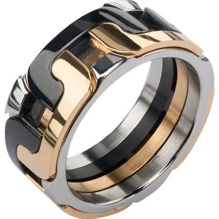 $52 - Inox 316L Steel IP Rose Gold and Black Arced Ring USA