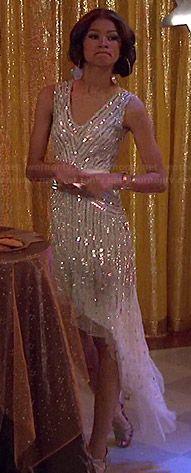 KC's white sequinned asymmetric dress on KC Undercover.  Outfit Details: http://wornontv.net/44514/ #KCUndercover