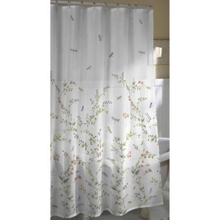 Dragonfly Garden Fabric Shower Curtain