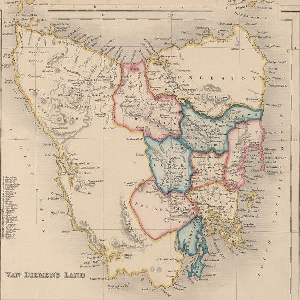 Van Diemen's Land ( now known as Tasmania) - 1852 Map
