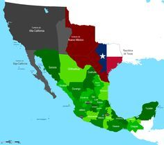 Mapa de territorio Mexicano antes de que fuera invadido por los estadounidenses.