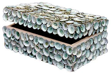 Oyster Bay Coastal Blue Limpet Shell Decorative Box by Karen Robertson - beach-style - Decorative Boxes - Kathy Kuo Home