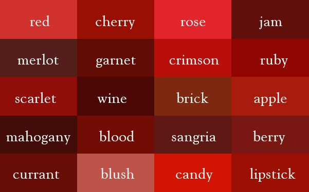 """So for fun, I created this color thesaurus for your reference. Of course, there are plenty more color names in the world, so, this is just to get you started."" ~ Ingrid Sundberg http://ingridsnotes.wordpress.com/2014/02/04/the-color-thesaurus/"