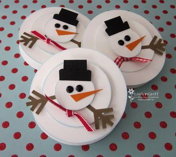 Punch Art Snowman over York Peppermint patties.  Great Christmas stocking stuffer or Secret Sis token.: