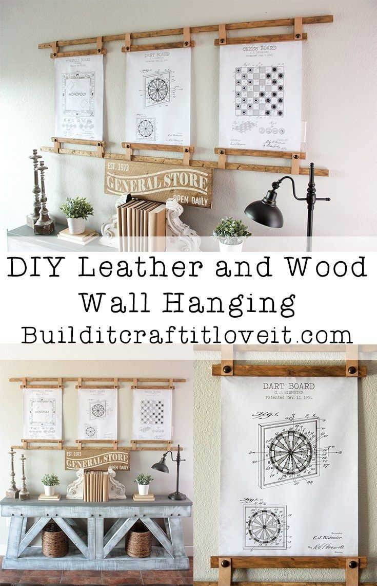 Diy Leather Wood Wall Hanging Prints Wood Wall Hanging Rental Home Decor Leather Diy