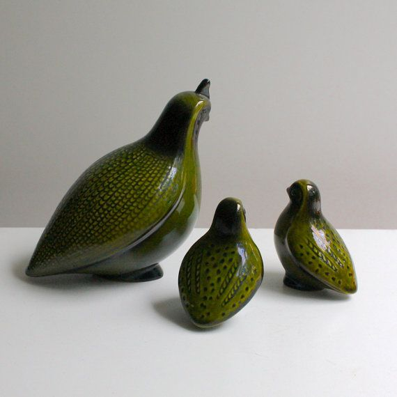 Vintage Ceramic Quail Figurines Set of by KitchenTableVintage, $21.00