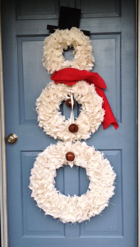 Snowman Wreath  Christmas Wreath  White by JameandJacqsCrafts, $110.00