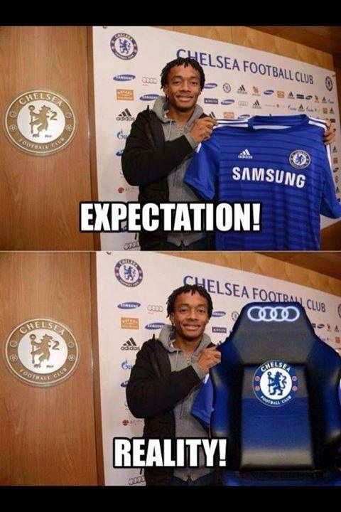 Wesoły obrazek nowego piłkarza Chelsea Londyn • Juan Cuadrado oczekiwania i realność w The Blues • Kolumbijczyk z nową koszulką >> #memes #football #soccer #sports #pilkanozna #funny #chelsea