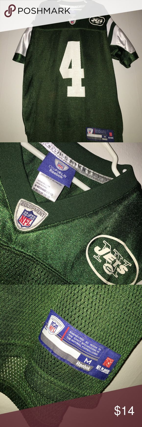 Favre #4 Jersey - NY Jets - Reebok Boys size Medium 10-12. New York Jets Favre jersey #4. On Field Reebok/NFL Players/NFL Equipment. In good condition! NFL Players Shirts & Tops