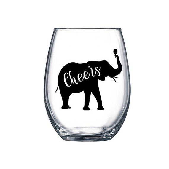 9 x love elephants Vinyl Decal Wine Glass stickers