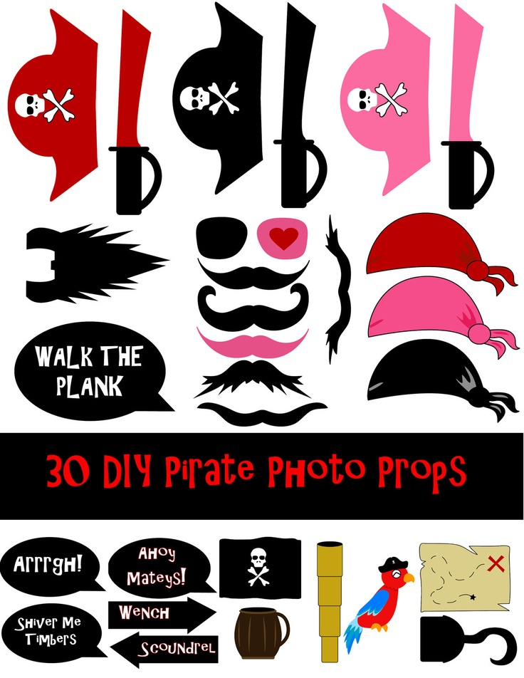 DIY 30 Pirate Photo Booth Prop Set by DigitalConfectionery on Etsy