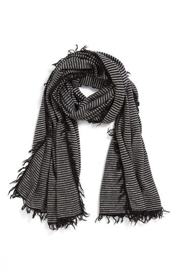 Off to lunch wrapped up in this striped scarf. | #myfavorite #cozy