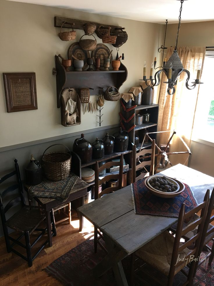 334 Best Primitive Dining Room Images On Pinterest  Primitive Unique Primitive Dining Room Sets Design Ideas