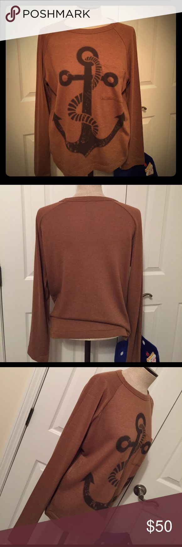 GO COUTURE Brown Anchor Sweater Awesome sweater, like new condition, only worn once! Very soft, it has in front pocket. Make offers! Go Couture Sweaters Crew & Scoop Necks