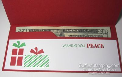 Your Presents Christmas Money Holder holds cash, checks, gift cards or gift certificate.  Learn more at TooCoolStamping.com