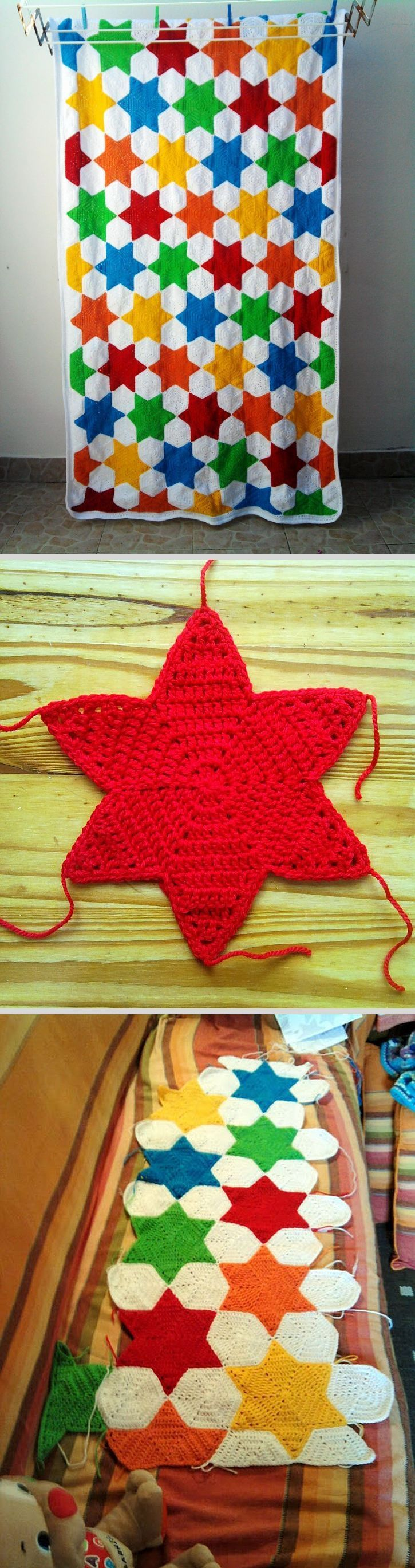 Star Blanket ~ Hexagon-based stars worked as one piece make the construction of this blanket interesting. Step-by-step photo tutorial for star. Site is in Portuguese, Google translate is helpful (& somewhat amusing :-) #crochet #afghan #throw