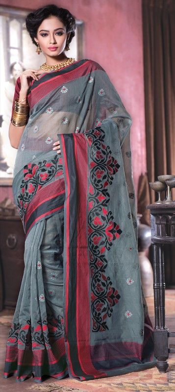 173328 Black and Grey color family Embroidered Sarees, Traditional Sarees in Super Net fabric with Machine Embroidery, Resham, Thread work with matching unstitched blouse.