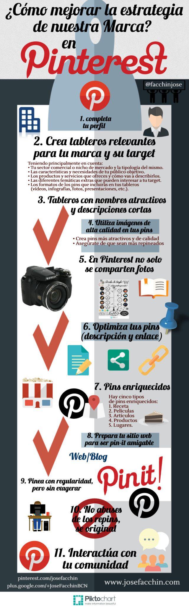 Cómo mejorar la estrategia de marca en Pinterest #infografia #infographic #socialmedia