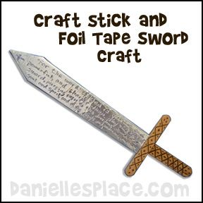 Sword of the Spirit Foil Tape and Craft Stick Bible Craft from www.daniellesplace.com