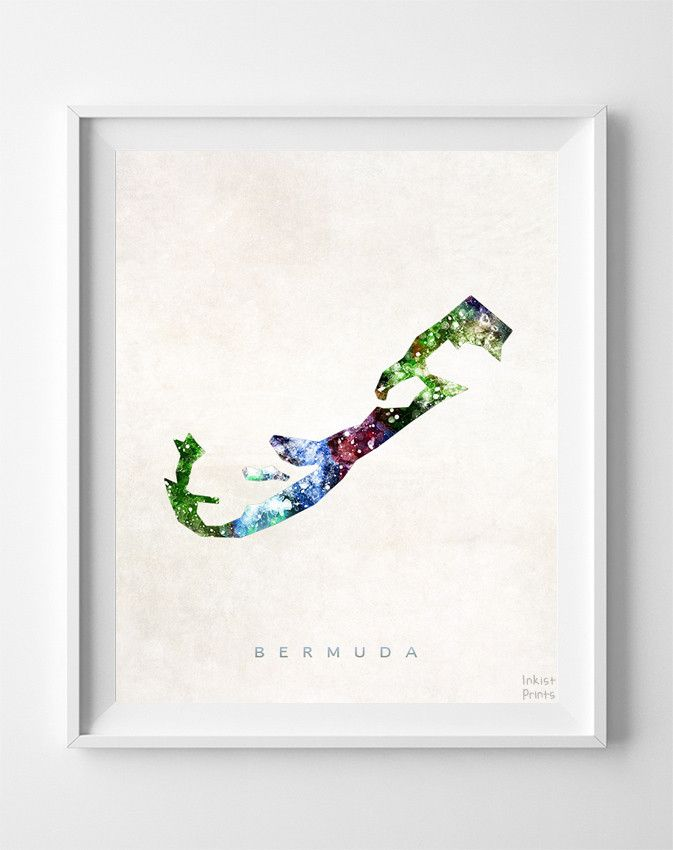 Bermuda Watercolor Map Print