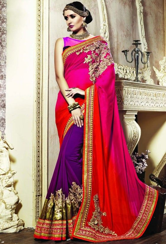 Elegant Violet, Fuchsia and Red Saree