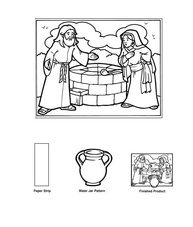 tarjeta jesus y la samaritana. Se pega la jarra a un papel doblado para darle relieve