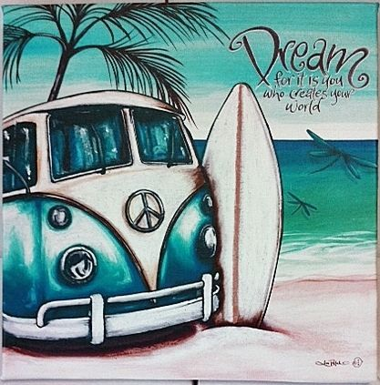 DREAM Blue Kombi 30cm Beach Wall Art Stretch Canvas Print Surf VW - Lisa Pollock