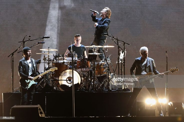 The Edge, Larry Mullen Jr, Bono and Adam Clayton of U2 perform during The Joshua Tree Tour 2017 at University of Phoenix Stadium on September 19, 2017 in Glendale, Arizona.