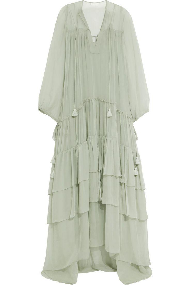 Chloé   Tiered silk-mousseline maxi dress   NET-A-PORTER.COM
