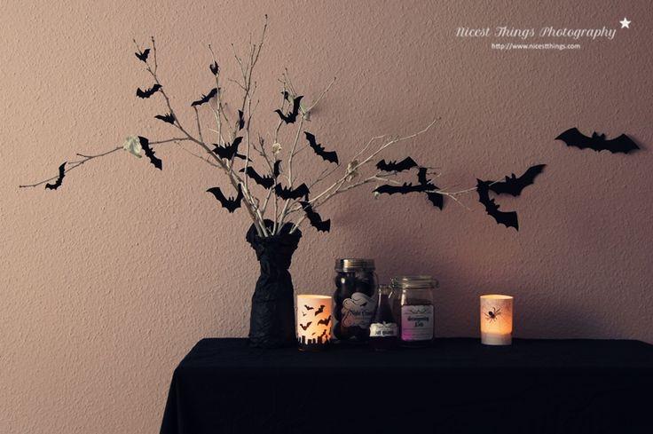 Dekoideen für eine Halloween Party: Leuchtende Geister, Geisterschleim, Fledermauszweige