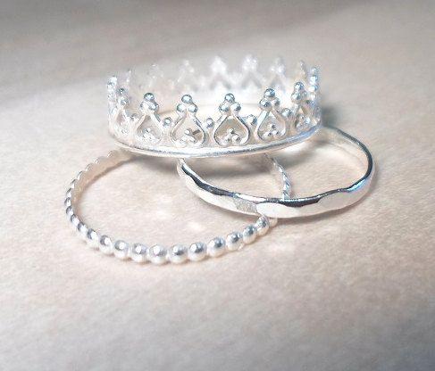 Anillo de la princesa, corona-corona anillo de apilamiento Set-Sterling plata…