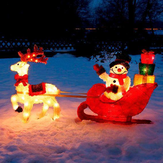 LED-Rentier-Schlitten mit Schneemann