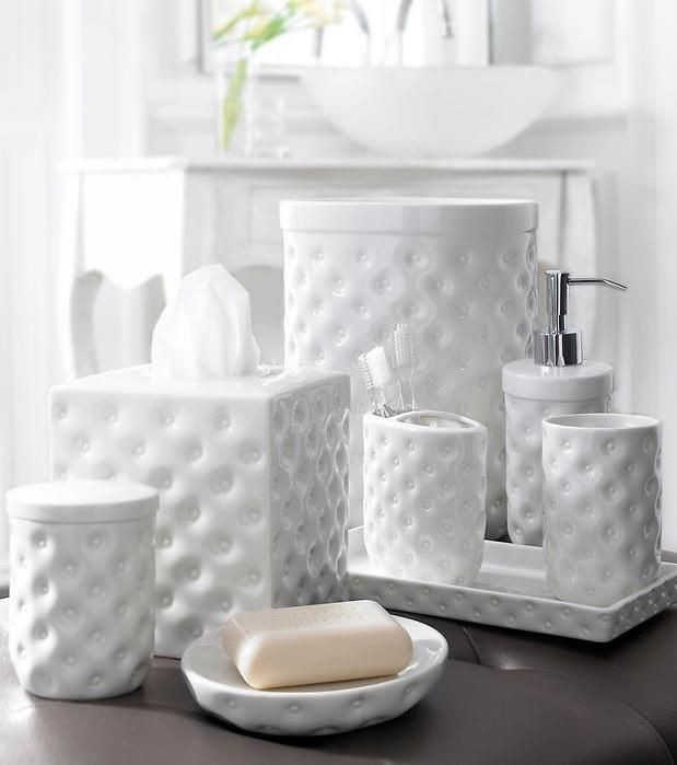 White Bathroom Accessories Set Home Decorating, Interior Design   Bathroom  Collection Sets