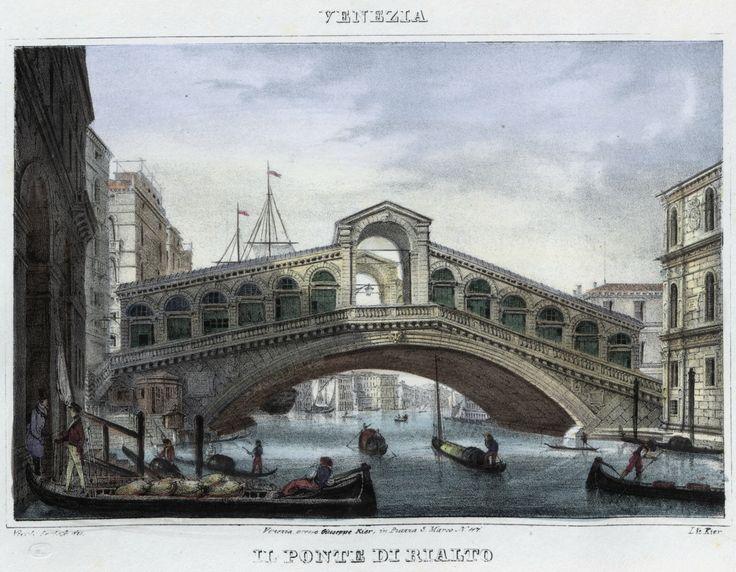 Venezia, il ponte di Rialto (National Library of Poland - 1847, lithography)