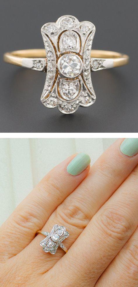 Authentic Art Deco Heirloom Diamond Ring 1920's Solid Platinum Engagement
