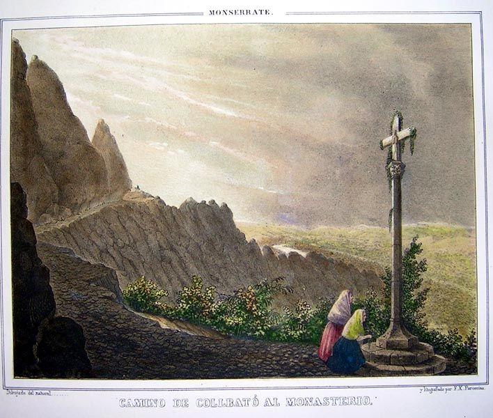 """Monserrate, camino de Collbato al monasterio (Montserrat) -  Artista: Parcerisa y Boada, Francisco Javier """"Recuerdos y Bellezas de España"""" 1833/50 Pintor y litógrafo,"""