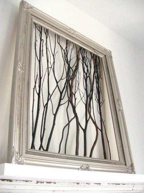 staple gun tree branches to a frame.