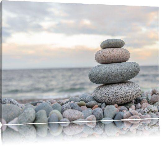 Awesome Steinturm am Strand Format x auf Leinwand XXL riesige Bilder fertig gerahmt mit Keilrahmen