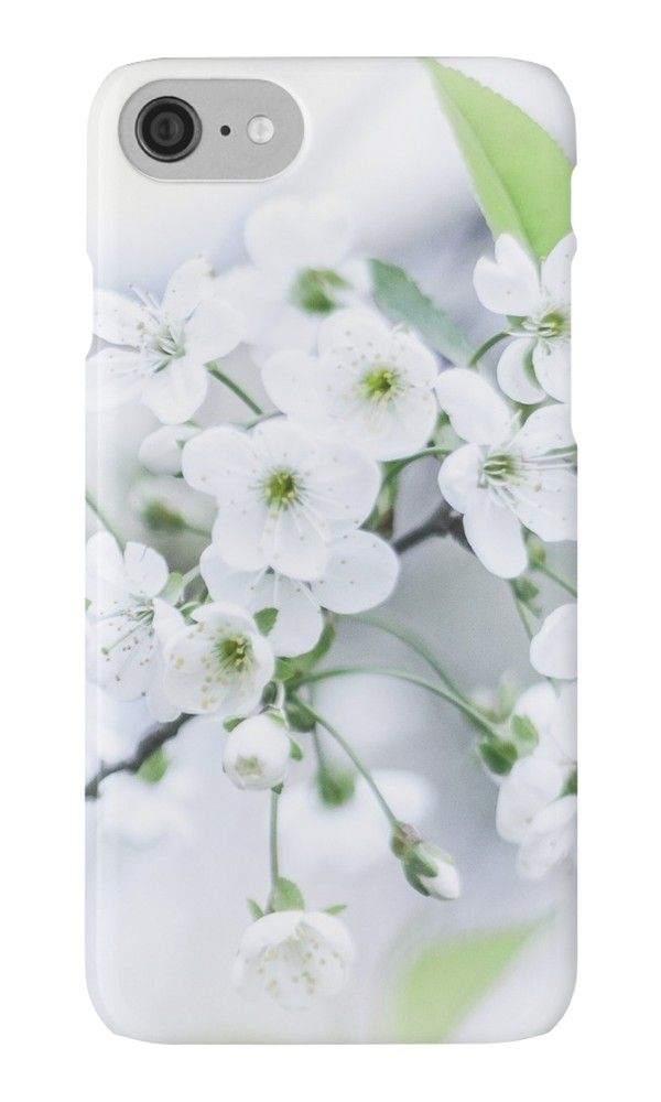 White cherry blossoms.  by Veronika2V. photo, photography, artwork, buy, sale, gift ideas, redbubble, cherry, cherry blossoms, freshness, green leaves, spring flowers, spring trees, tenderness, white flowers, white petals, young, springtime, spring, apple, iphone, skin, case, cover, gadgets
